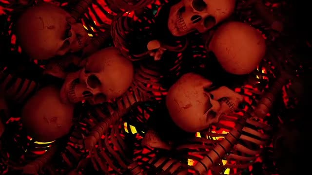 Side Moving Wall Of Skulls: Stock Motion Graphics