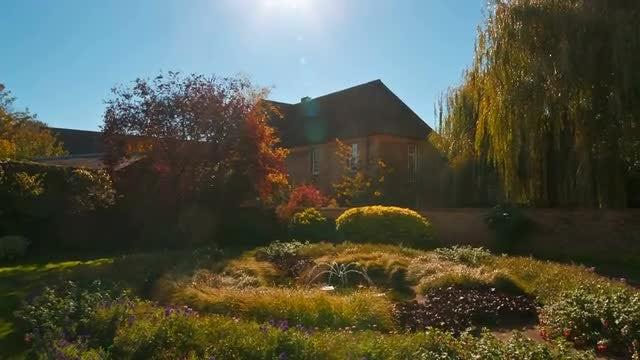 Lush Garden Near Manor House: Stock Video