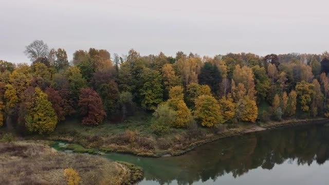 Aerial Shot Of Calm River: Stock Video