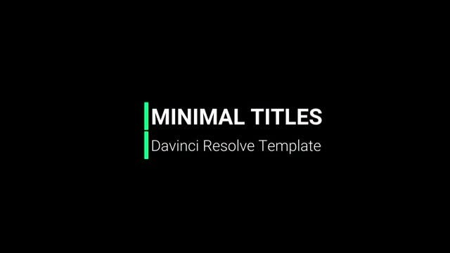Minimal Titles: DaVinci Resolve Templates
