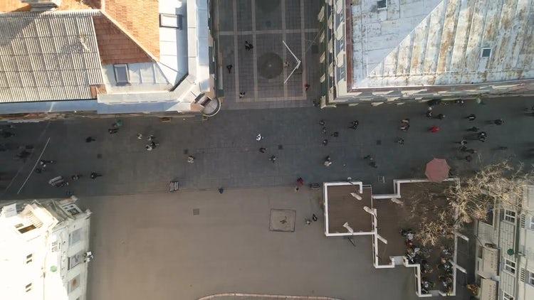 Overhead Shot Of People Walking: Stock Video