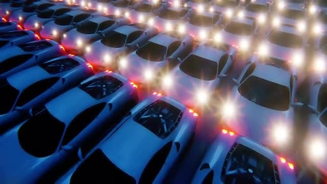 Luxury Vehicles With Lit Headlights: Stock Motion Graphics
