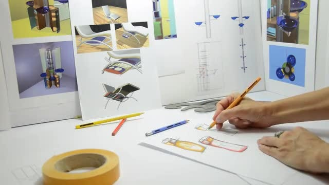 Artist Sketching New Designs: Stock Video