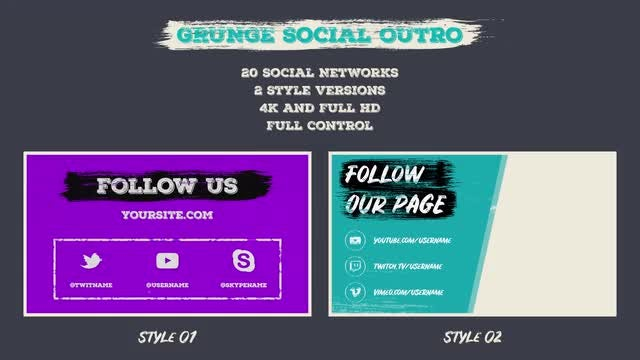 Grunge Social Outro: After Effects Templates