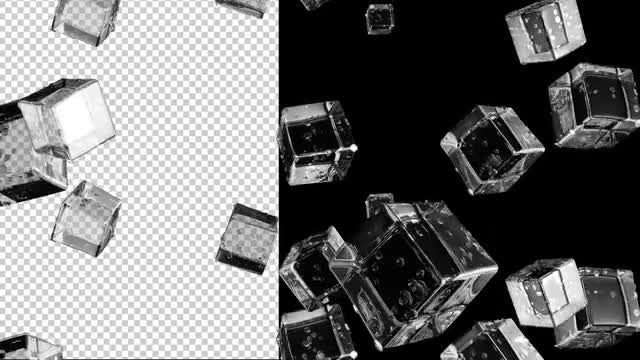 Falling Ice Cubes Transparent Background: Stock Motion Graphics