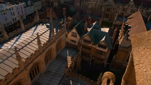 Aerial Shot Of Oxford College: Stock Video
