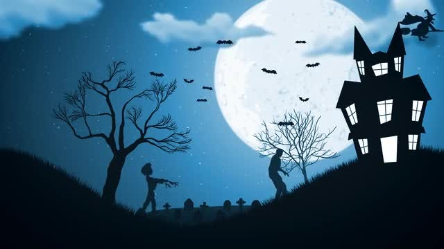 Zombies Go To Haunted House: Stock Motion Graphics