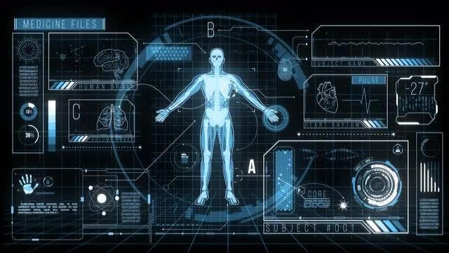 Futuristic HUD Medicine Screen Data: Stock Motion Graphics