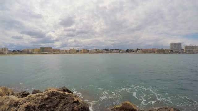 Wide-angle Shot Of The Ocean: Stock Video