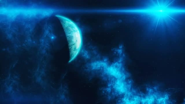 Blue Space Scene: Stock Motion Graphics
