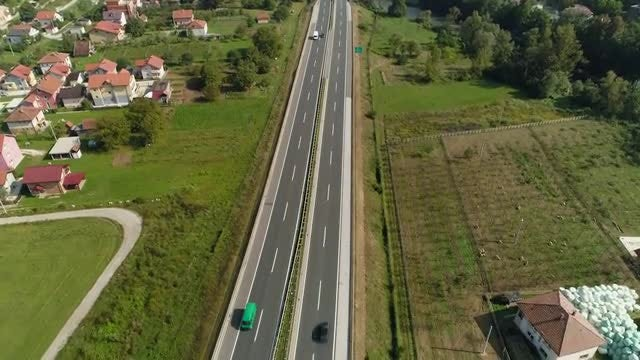Aerial Shot Of Busy Highway: Stock Video