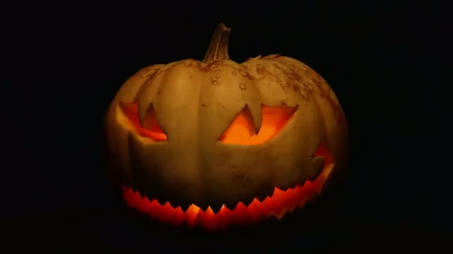 Close-up Shot Of Creepy Pumpkin: Stock Video