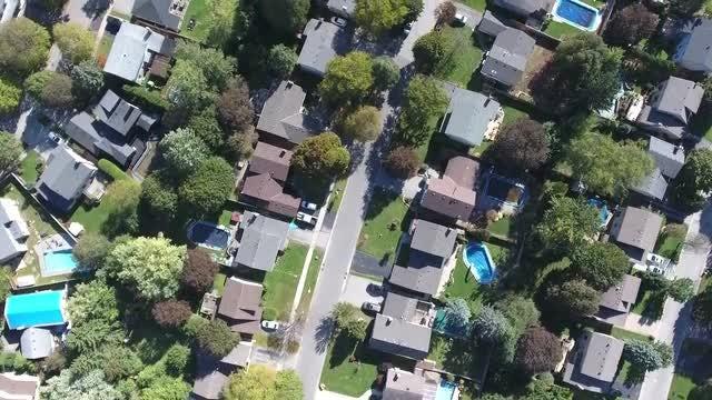 Overhead Shot Of Suburban Neighborhood: Stock Video