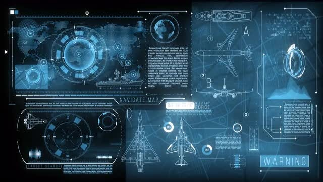 Military Navigation Display Data: Stock Motion Graphics