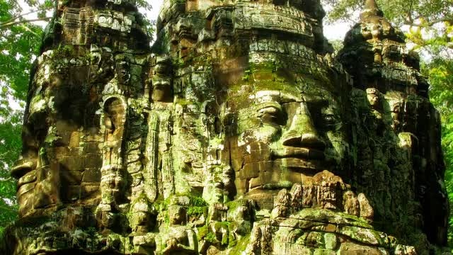 Angkor Heads Time Lapse Loop: Stock Video
