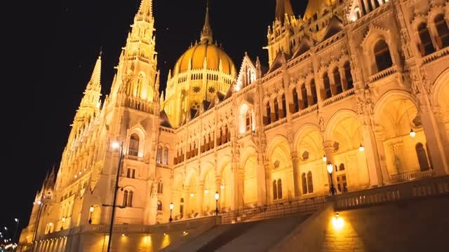 Budapest Parliament By Night: Stock Video