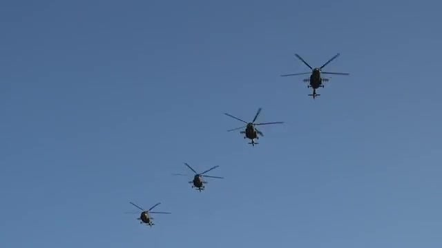 Military Helicopters Fly Over: Stock Video