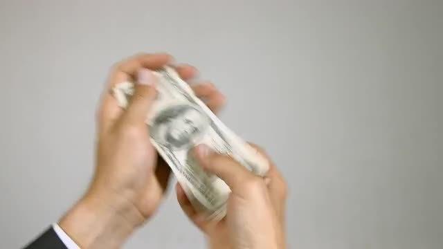 Businessman Counting Dollar Bills: Stock Video