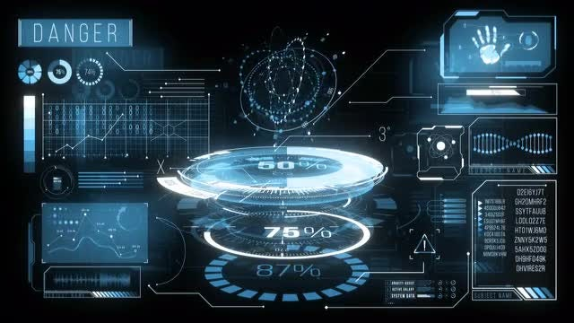 Elaborate HUD Dashboard Loading Data: Stock Motion Graphics