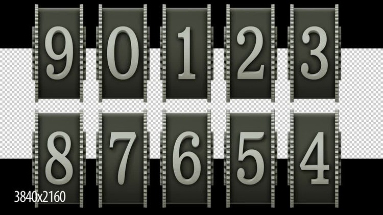 3D Rotating Number Dial Countdown: Stock Motion Graphics