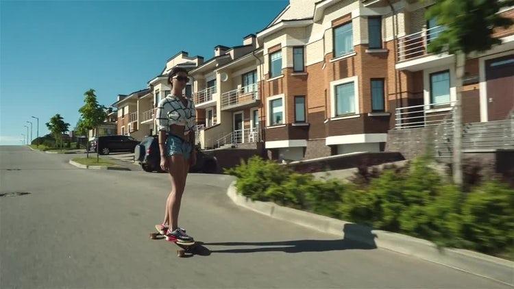 Skating In Neighborhood: Stock Video