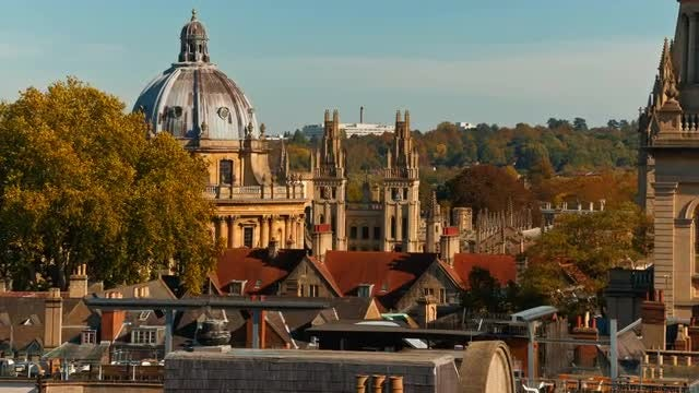 Aerial Of Oxford Old Town, England: Stock Video