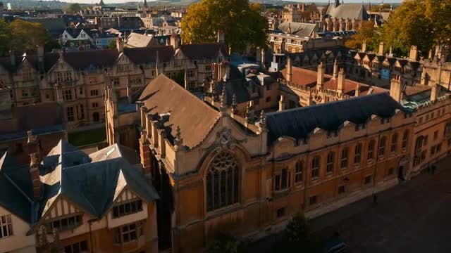 Aerial Shot Of Brasenose College: Stock Video
