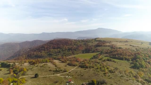 Fields And Trees On Mountains: Stock Video