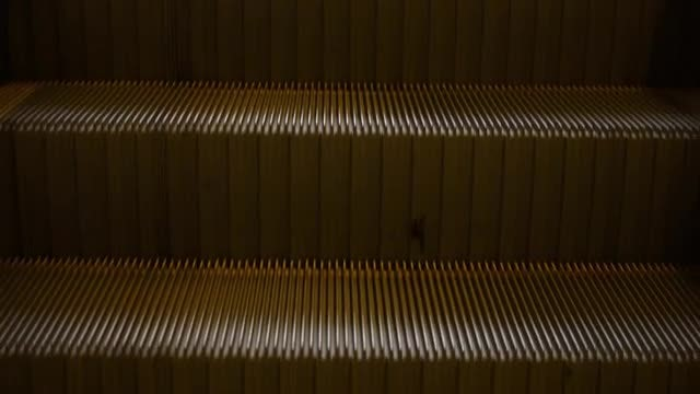 Close-up Shot Of Escalator Stairs: Stock Video