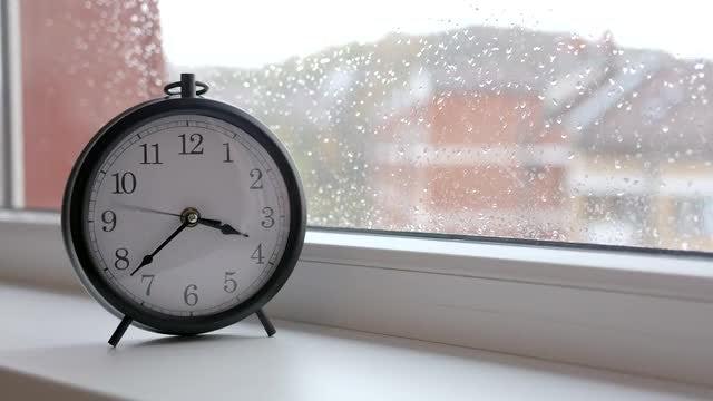 Clock On Window Ledge: Stock Video
