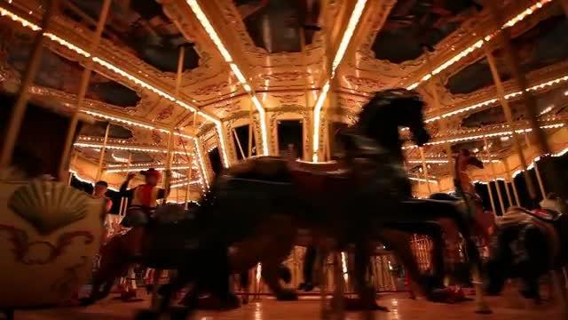 Glowing Carousel Loop: Stock Video