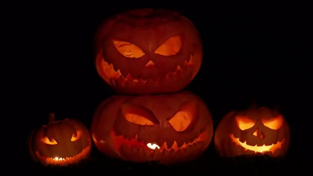 A Group Of Scary Pumpkins: Stock Video