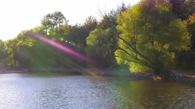 Sun Beams Over The Lake: Stock Video