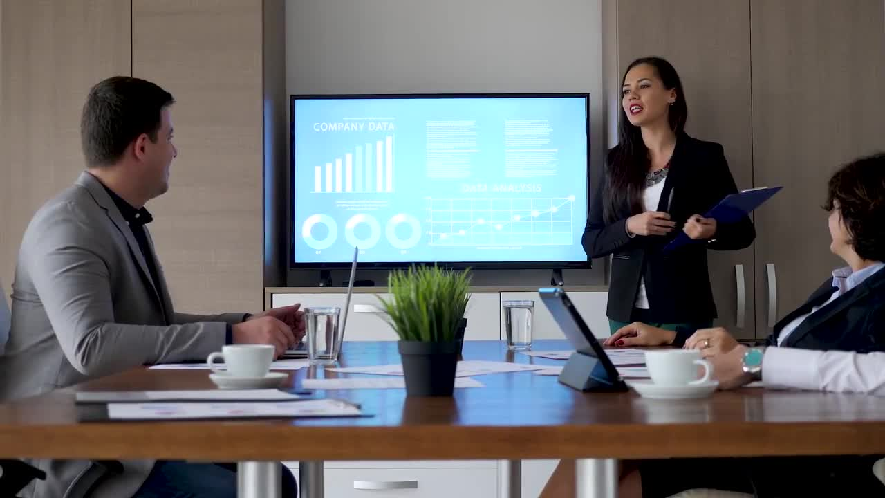 Business Presentation In Meeting Room - Stock Video | Motion