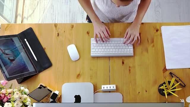 Overhead View Of Working Designer: Stock Video