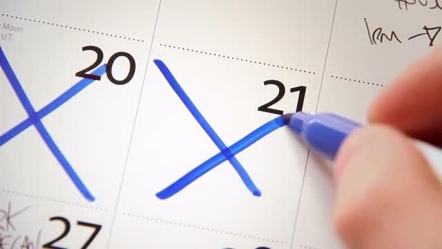 Crossing Off Days On Calendar: Stock Video