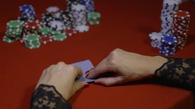 Female Poker Player Raising: Stock Video