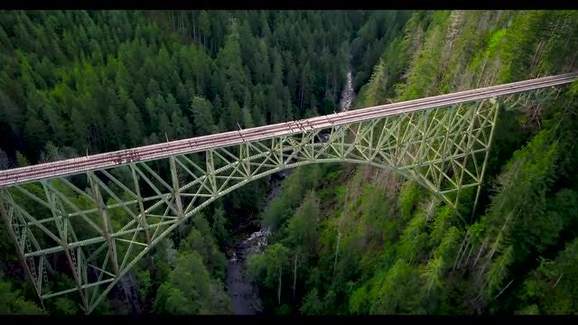 Aerial Shot Of Railway Bridge: Stock Video