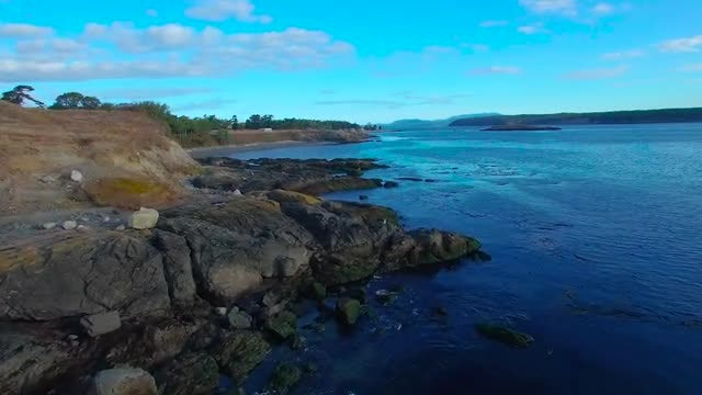 Aerial Shot Of Rocky Shoreline: Stock Video