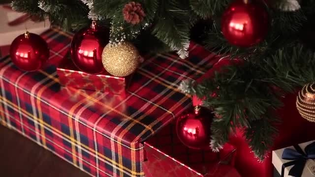 Colorful Christmas Tree And Gifts: Stock Video