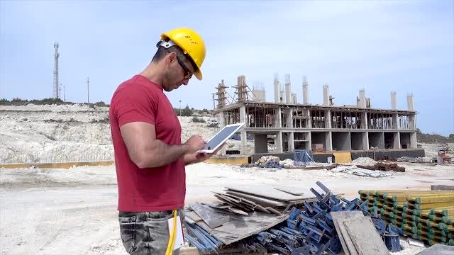 Construction Engineer At Construction Site: Stock Video