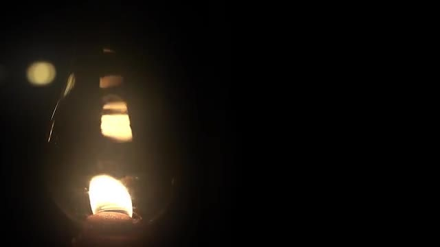 Oil Lamp Burning At Night: Stock Video