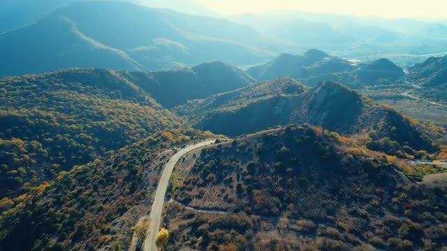 Aerial Shot Of Autumn Mountains: Stock Video