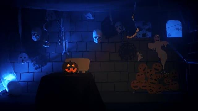 Inside A Halloween Photo Studio: Stock Video