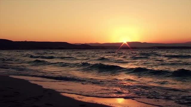 Gold Sky Black Sea Sunset: Stock Video