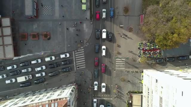 Top View Of Busy Crossroads: Stock Video