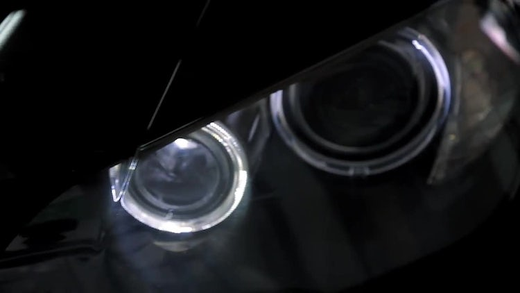 Close-up Shot Of Car Headlights: Stock Video