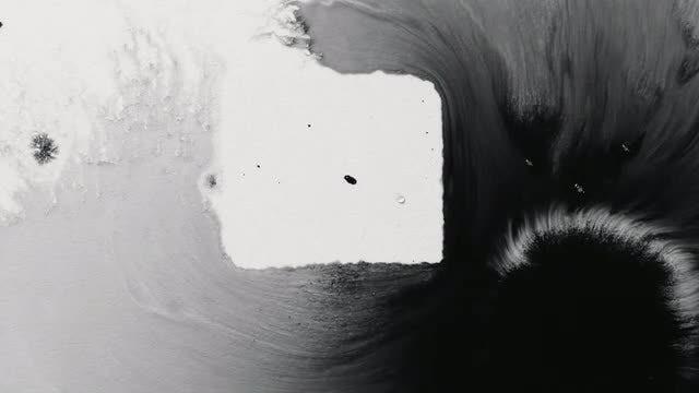 White And Black Ink Blending: Stock Video