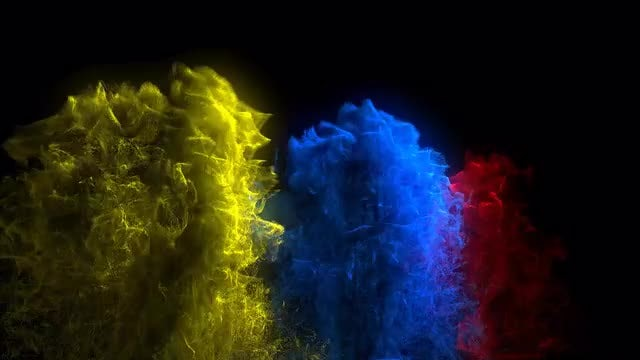 Tri-Color Reverse Ink Drops Background: Stock Motion Graphics