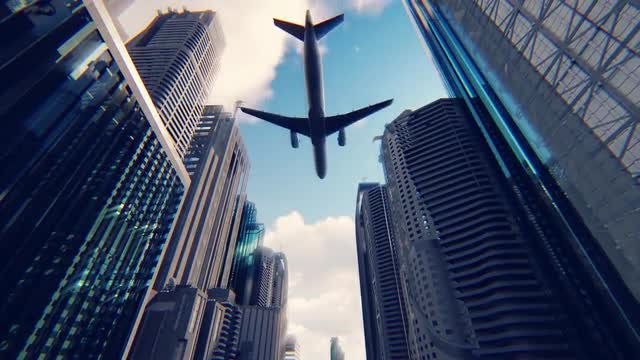 Passenger Plane Flying Over Megapolis: Stock Motion Graphics